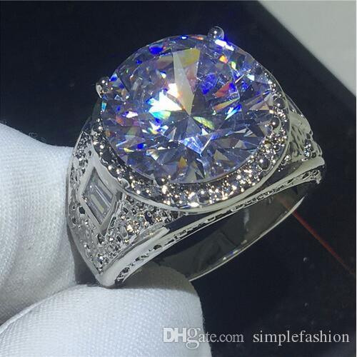 Victoria Wieck formato 8-12 antico dei monili oro 18K uomo riempito 15ct enorme Topaz diamante simulato anello di fidanzamento Wedding Band
