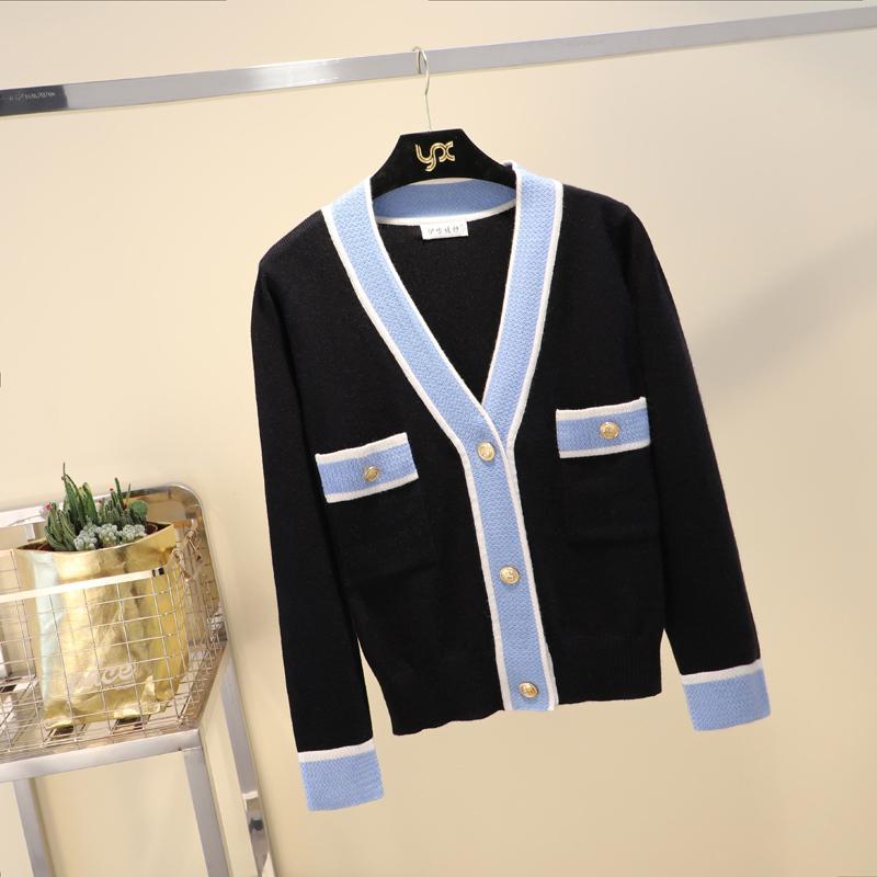 Designer de Luxo Marca camisola de malha por Mulheres V Neck contraste de cor Botões malha Cardigan Sweater CX200810