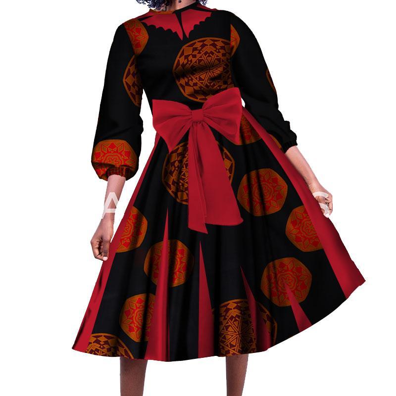 Moda Feminina Manga Comprida Vestido Tradicional Africano Impressão Floral Vestidos de Algodão Com Bowknot Elegante Wedding Party Dress WY258