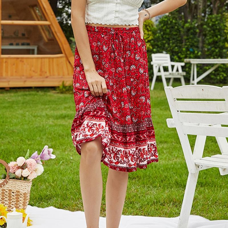 Skirts Summer Skirt 2021 Women Fashion Retro Floral Lady Leisure High Waist Beach Vestido De Festa Dropship Z