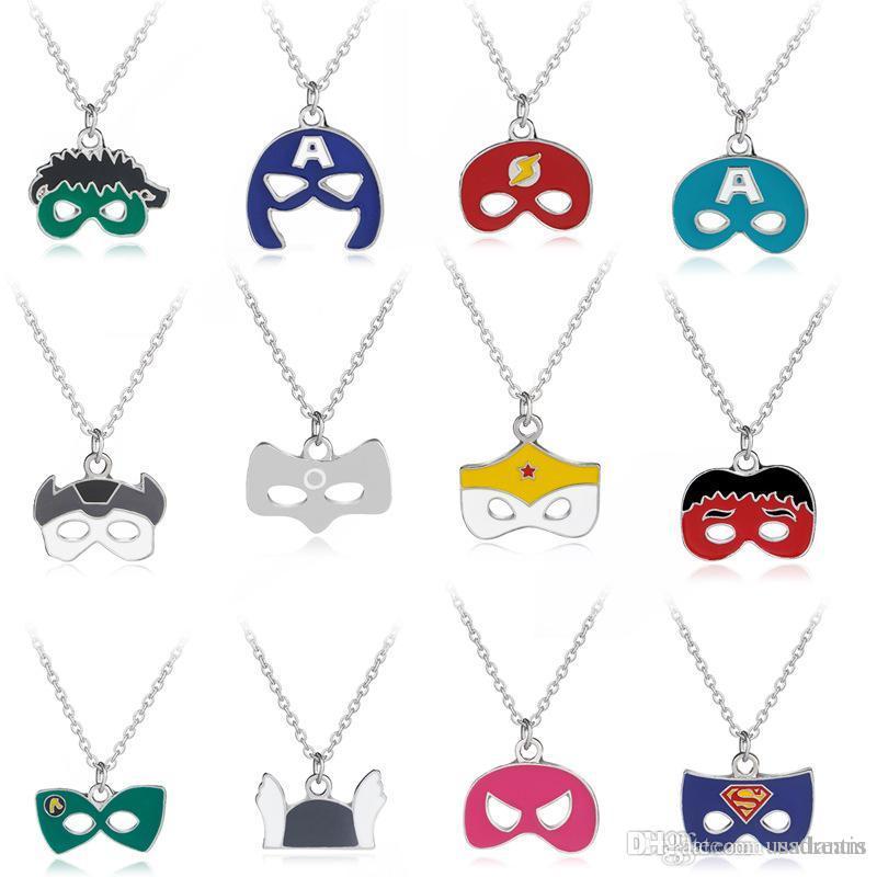 Superhero Mask Necklace Wonder Woman Superman Flash Captain America Thor Hulk Mask Face Pendants Necklace Fashion Jewelry DROP SHIP 162523