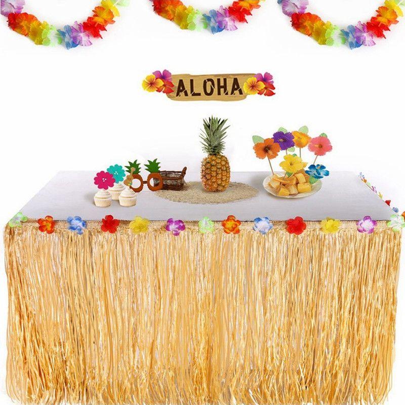 الديكور الجدول التنورة الاستوائية القش DIY هاواي الزهور والنباتات اللوازم شاطئ الديكور زهرة الجدول حفل زفاف ديكور التنورة