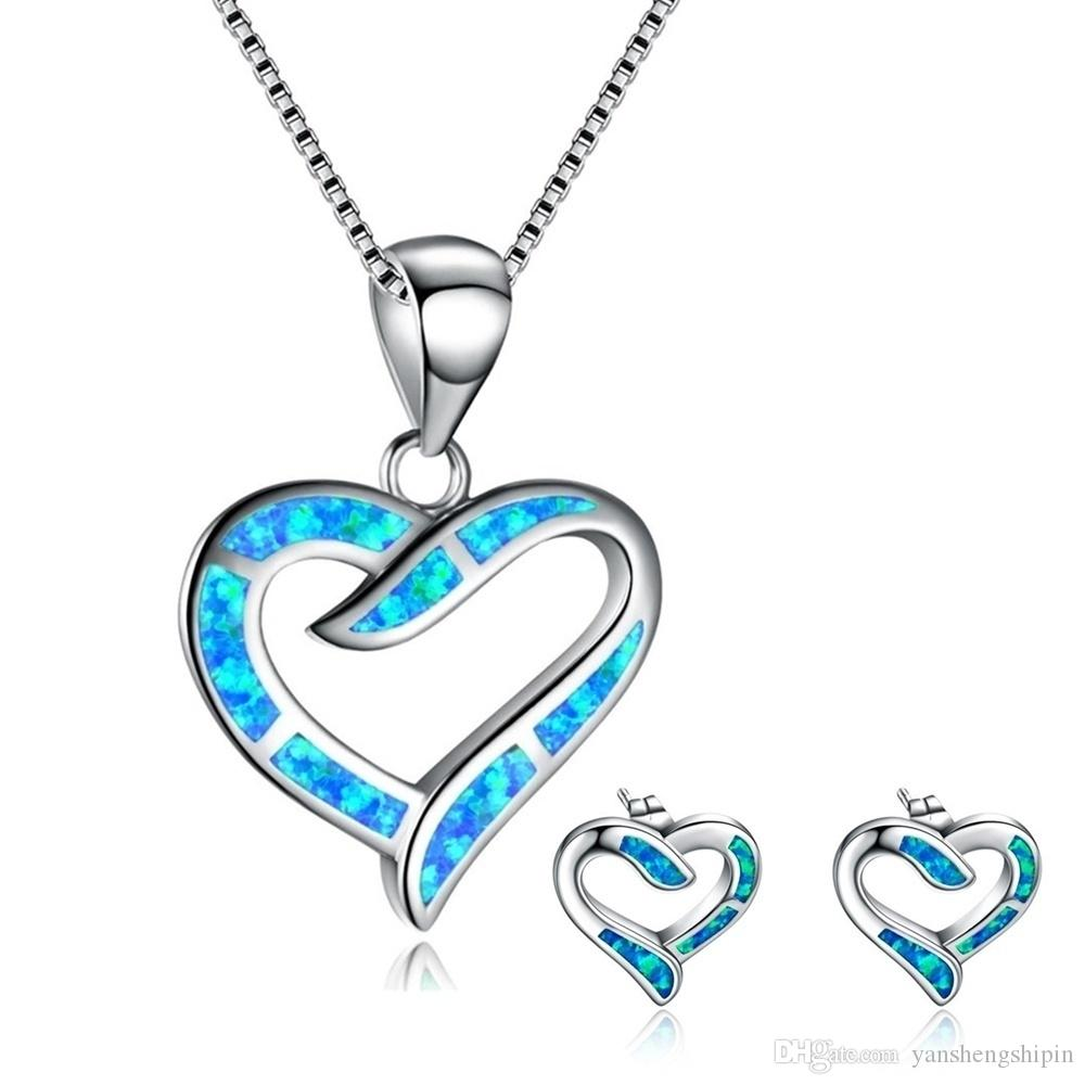 Kadınlar Hediyeler için Set Sevimli Yuvarlak Mavi Ateş Opal kolye kolye ve Küpe 925 Gümüş Gelin Düğün Takı