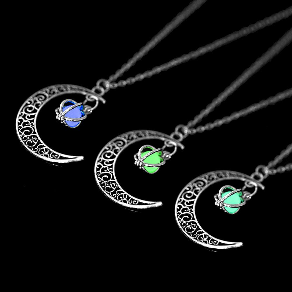 Glow In the Dark Pendant Necklaces For Women Silver Plated Chain Hollow Moon Luminous Necklaces Women Fashion Jewelry Necklaces