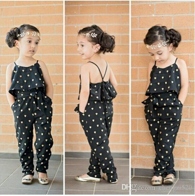 Hot-Selling Baby Kids Girls One-piece Sleeveless Heart Dots Bib Playsuit Jumpsuit T-shirt Pants Outfit Clothes 2-7Y YH1717
