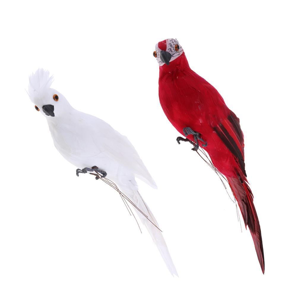 Statue 2x realistica Ara pappagallo Rosso Bianco realistica dell'uccello Ornamento artificiale Feathered modello animale fai da te Prato Scultura Planter Albero Decor