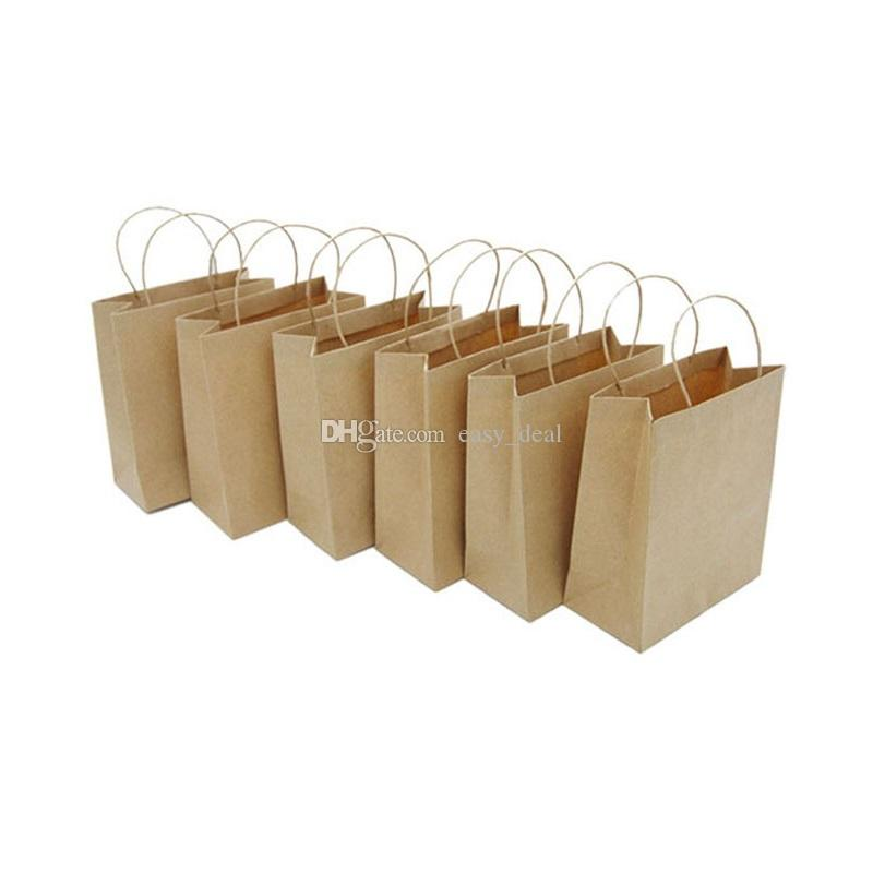 Jewelry Paper Bag Mini Kraft Paper Gift Handle Bag Wedding Party Candy Food Packaging Bag 10*5*12cm QW9849