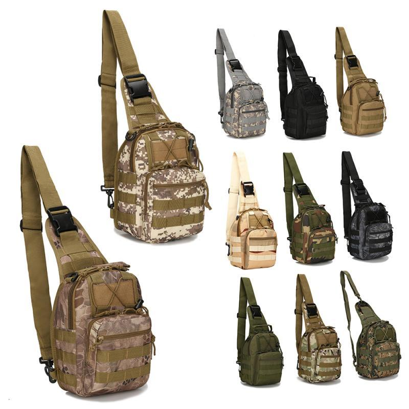 Outdoor Shoulder Bag Camouflage Canvas Tactical Field Sports Small Chest Bag Cycling Camping Climbing Fishing