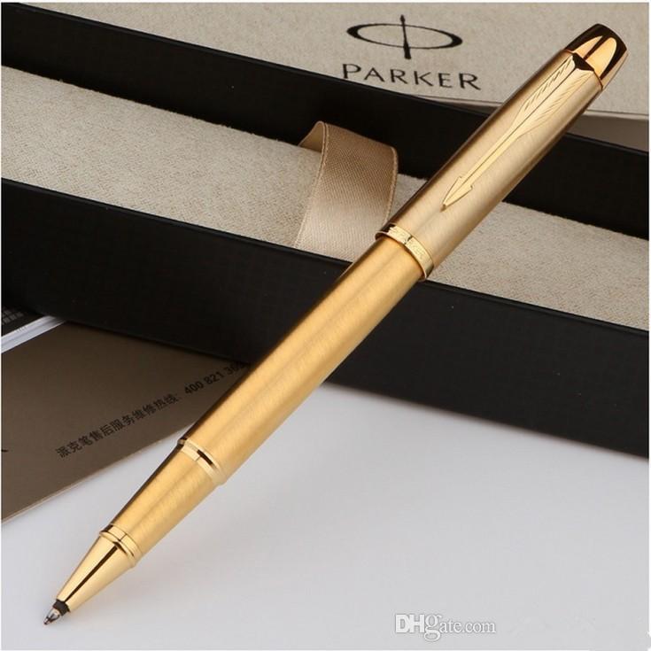 New Parker Pen metais polimento ouro IM PK pena luxuoso escritório bola de rolo Escola Escrever Papelaria 899A