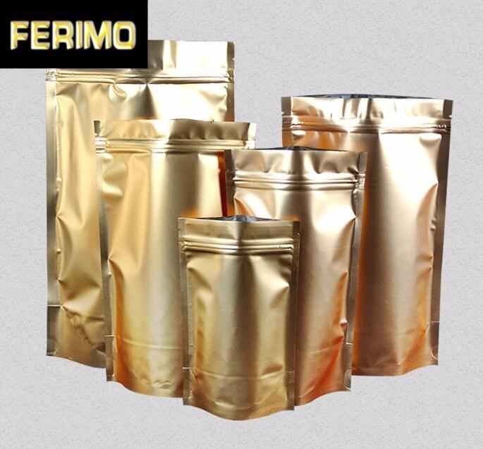 100pcs oro Alzati serratura della chiusura lampo Bag Alimenti secchi Frutta Tè Packaging Gift Bag Sacchetti di alluminio Zipper autosigillante partito