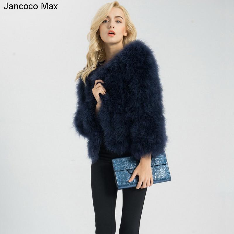 Kadınlar Moda Kürk Palto Kış Gerçek Devekuşu Kürk Ceket Doğal Türkiye Tüy Kabarık Dış Giyim Lady S1002MX191009
