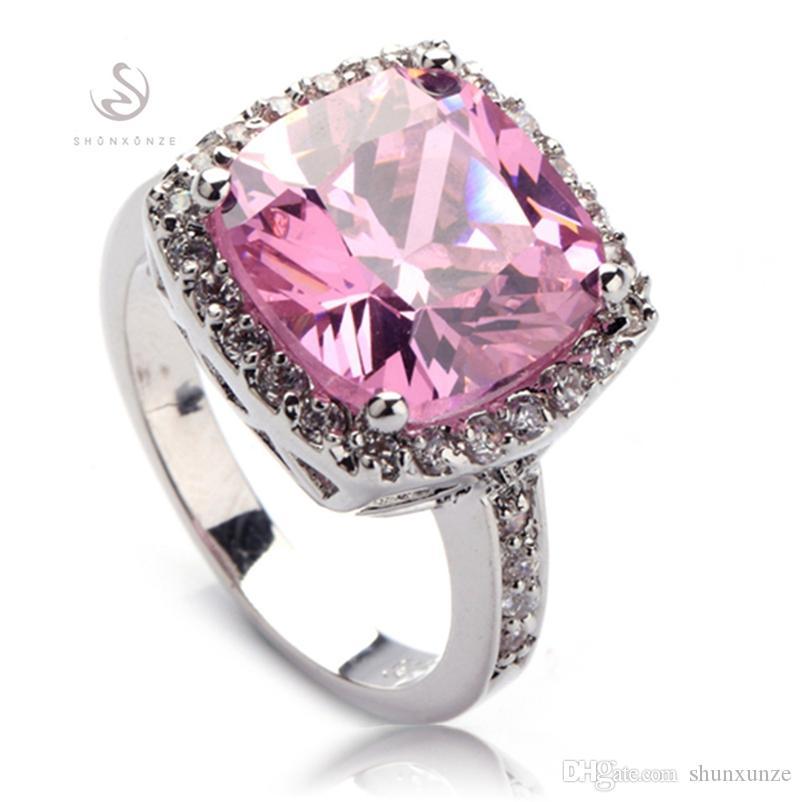 SHUNXUNZE Hiphop compromiso de la boda anillos de accesorios de vestir de las mujeres dropshipping tamaño Cubic Zirconia Rosa rodio plateado R555 6 7 8 9