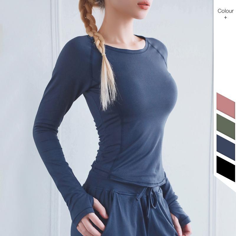 Camisa de la yoga de la mujer Yoga sólido de color de alta Stretch ropa cómoda corrientes respirables señoras de Deportes de manga larga