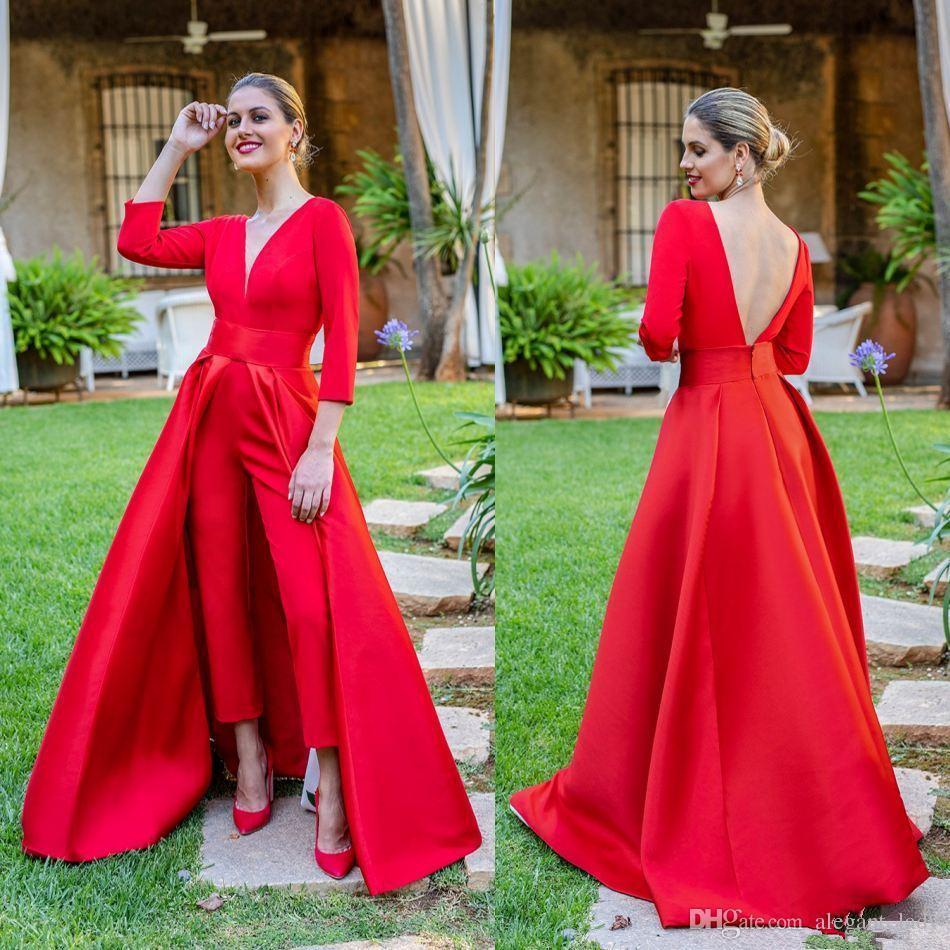 Krikor Jabotian Balo Parti Örgün Tulum ile Tren 2019 Kırmızı Leke V yaka Uzun Kollu Backless Dubai Arapça Akşam Pant Elbise Giyim