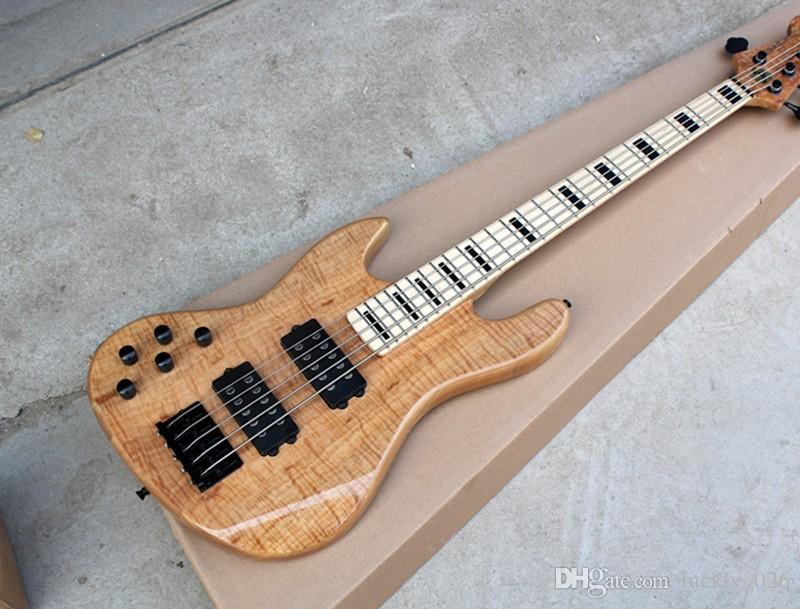 Free Shipping 5-string Left Hand ASH Body Electric Bass Guitar with Maple Fingerboard,Black Hardwares,Offer Customized