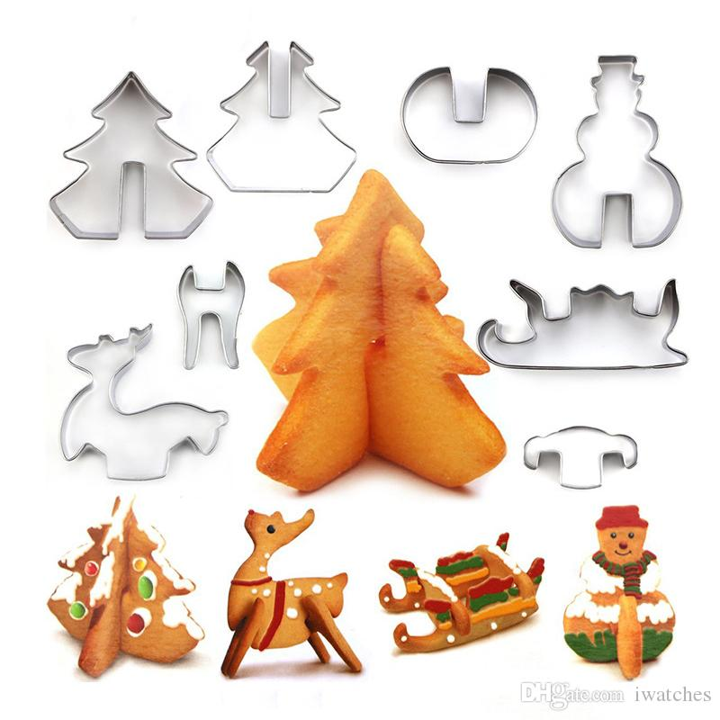 Christmas stainless steel 3D cookie cutter baking utensils Christmas day party creative personality cake biscuit making mold decorations bak