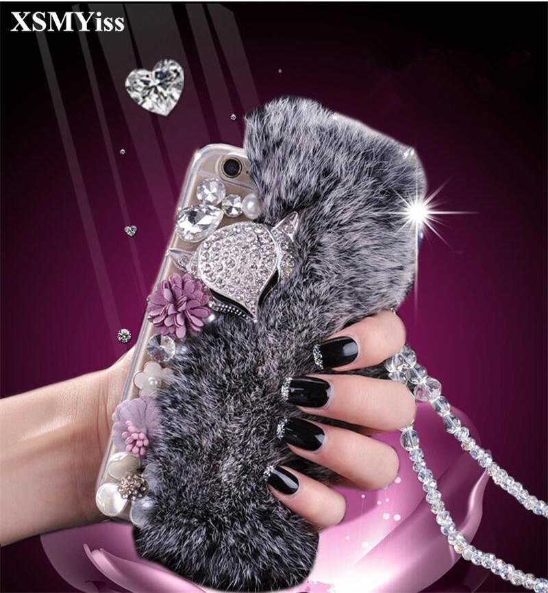 도매 최고 품질의 절반 진짜 토끼 모피 모피 폭스 라인 석 블링 케이스 Capa IPhoneX 5C 5 5S SE 6 6S 7 8 플러스 컴팩트 케이스
