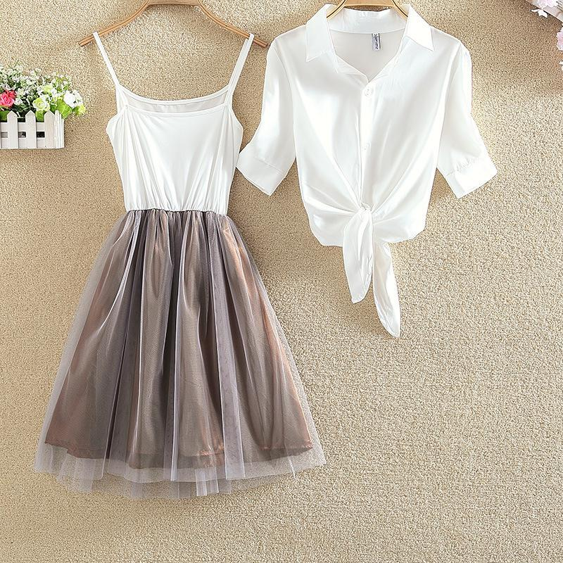 2019 S 4xl White Shirt And Sling Tutu Dress Suit Women Summer Cute Dress  Blue Pink Shirt And White Veil Dresses Plus Size 3xl From Noah2010, $14.93  | ...