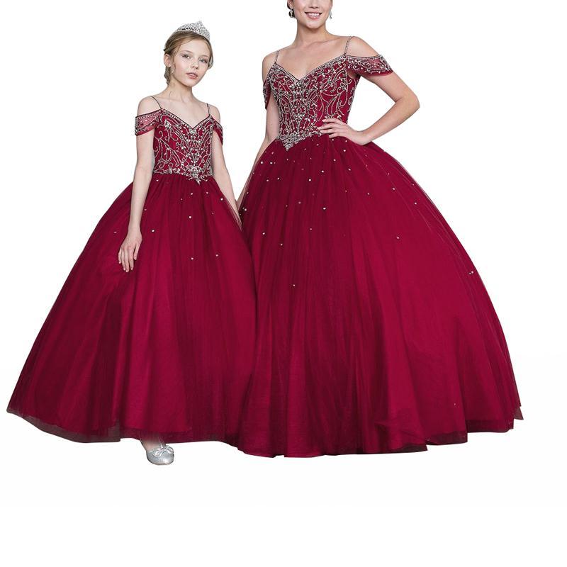 2020 New Cute Kids Flower Girl Dresses Neck Little Girl Dresses Lace Chiffon Kids Formal Wear For Wedding Party Communion Dresses