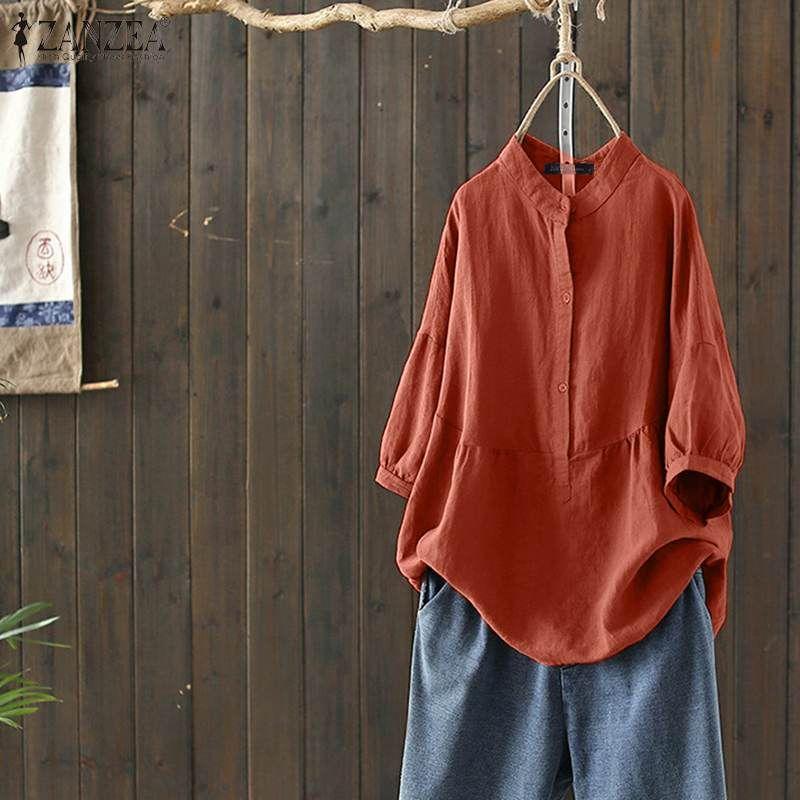 ZANZEA Donne mezza manica Top Solid Bottoni Estate Cotone Lino Camicia epoca femminile Blusas Femininas allentato Camicia tunica Chemise