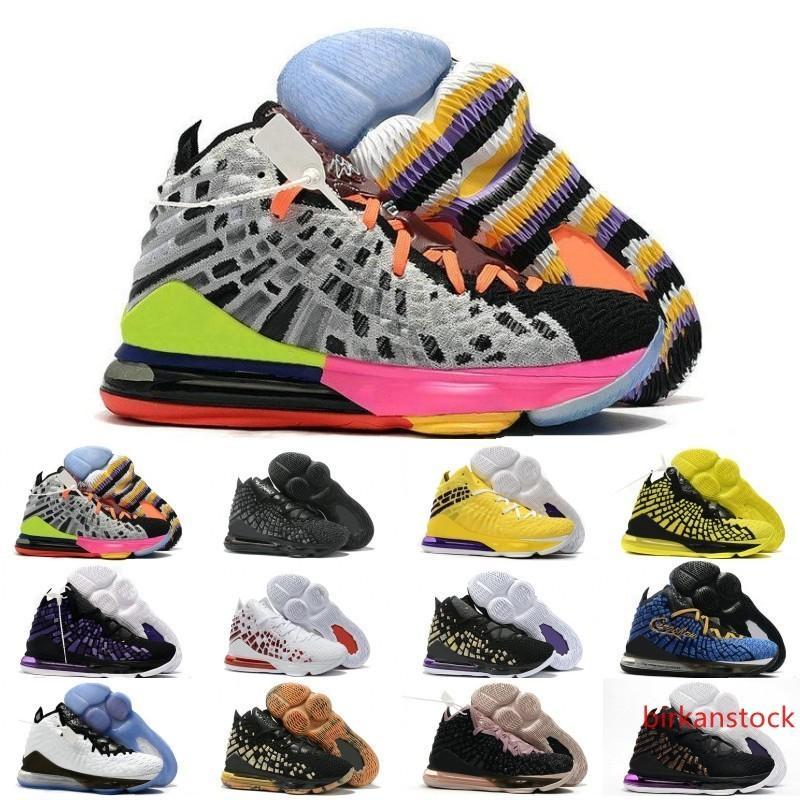 2020 zapatos de James 17s XVII FMVP oro azul de color caqui Igualdad de baloncesto para hombre de las zapatillas de deporte 17 7-12 PE en la arena púrpura Oro del Rey de lujo