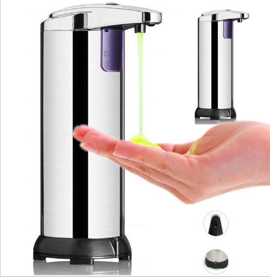 스테인레스 스틸 비누 액체 소독제 비접촉식 디스펜서 욕실 손 세척 비누 병 자동 액체 비누 디스펜서 280ml RRA3167