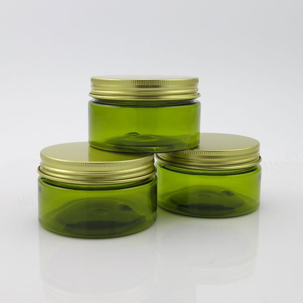 Altın Alüminyum Cap Seal ile 30 x 100g Boş Yeşil Krem Kozmetik Kavanoz