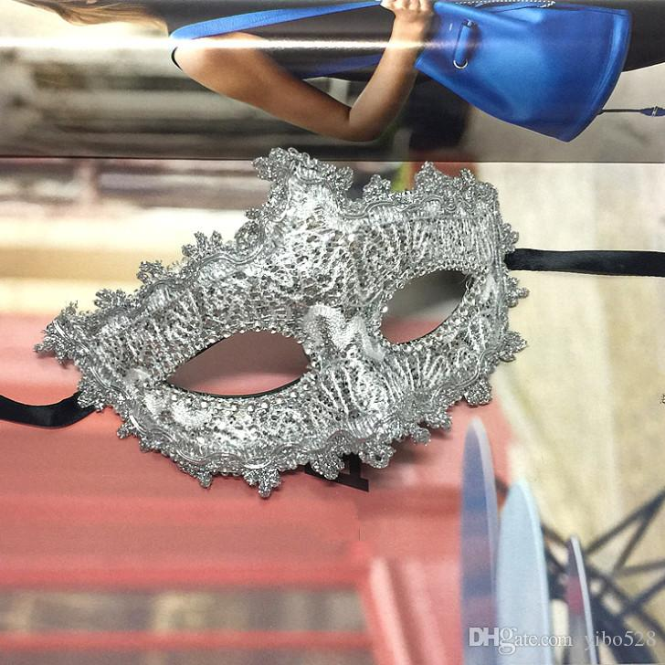 2019 Sexy Women leather Lace Sequin Shining Masks party Fancy Dress Masked Ball Masquerade Party (Silver )