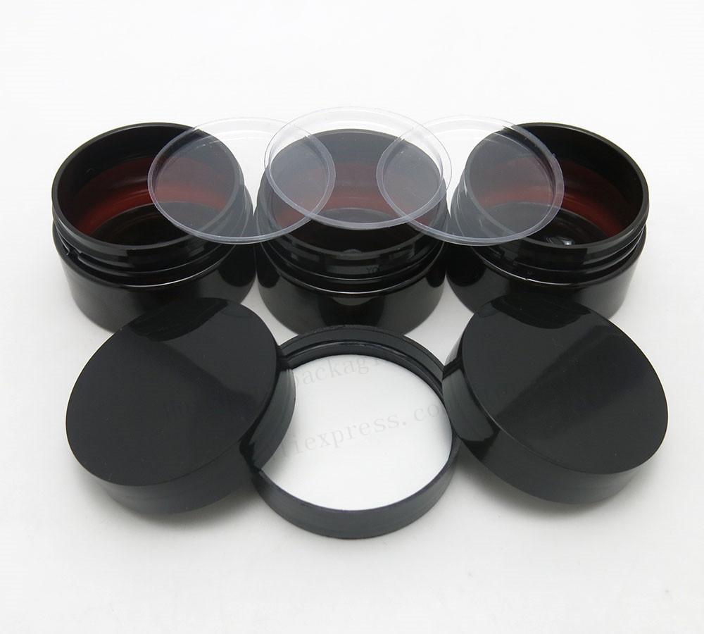 50 x 30g vazio âmbar escuro Pet Skin Care Creme Jar com tampas de plástico com Inserir uma onça Container