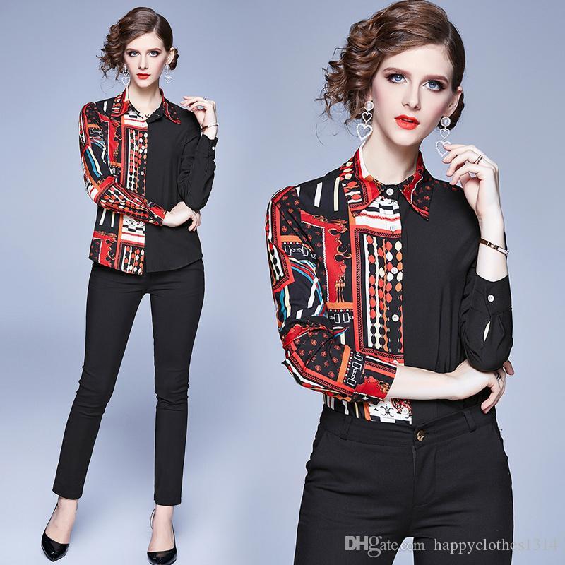 Качество Элегантный Печатный Дизайнерские футболки Женщины Runway с длинным рукавом нагрудные шеи дамы Весна рубашки Блузы вскользь кнопки Office Рубашки Топы