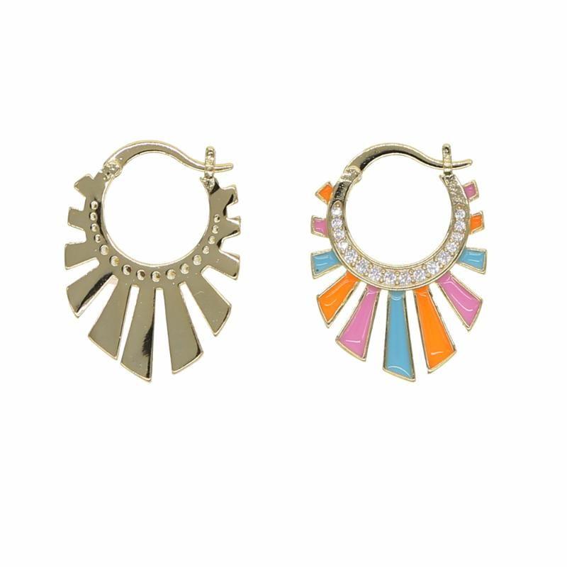 Tiny Bonbons süß Emaille Neonfarben Spike Ohrringe für Frauen Regenbogen Schmuck mit Emaille Großhandel billigen Bandohr
