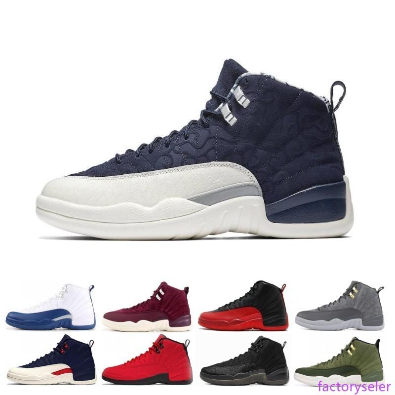 Basketball Shoes sneaker 12 French blue Milan green wool white Flu Game UNC Gym red taxi gamma french blue Suede men sport trainer