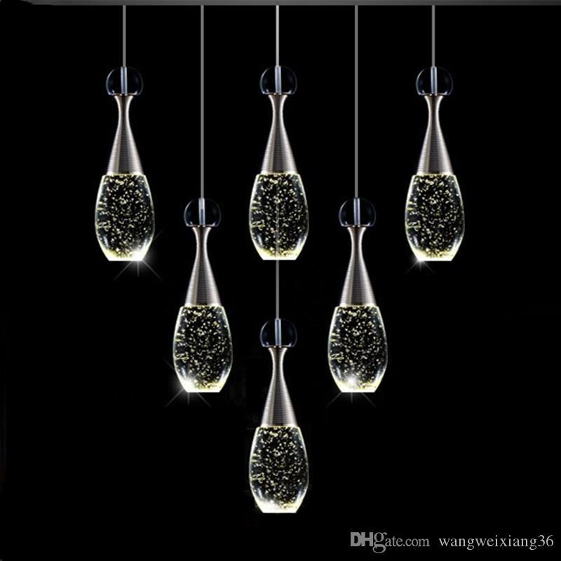 Modern Luxury Crystal Bottle Led Chandelier Lighting Gold Metal Living Room Led Pendant Chandeliers Lamp Bedroom Hanging Lights