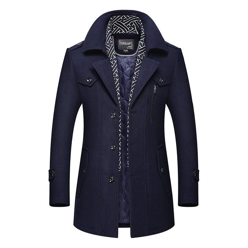 2021 Fashion Mens Woolen Coat Solid Color Men Business ...