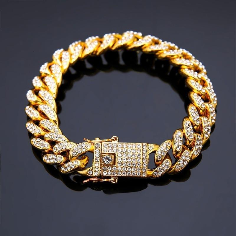 Cuba Bracelet Dense Drilling Cuba Chain Hiphop Jewelry