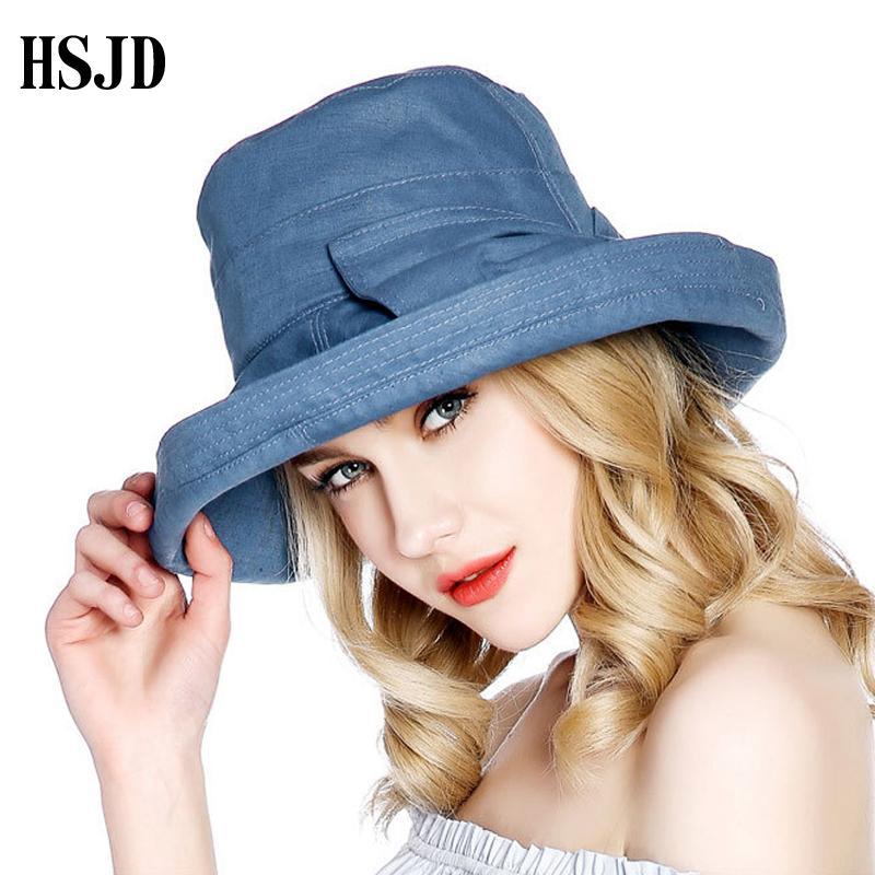 Moda Vintage Algodón Lino Sombrero de playa anti-UV ocio bowknot sol sombrero 2018 sombreros de verano para las mujeres plegable cubo sombrero de las señoras