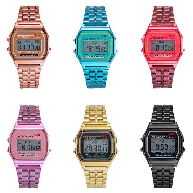 Regalo de Año Nuevo mira negocio Oro reloj del deporte de Acción de Gracias Navidad LED a prueba de agua digital de moda femenina de las mujeres de los hombres reloj de cuarzo