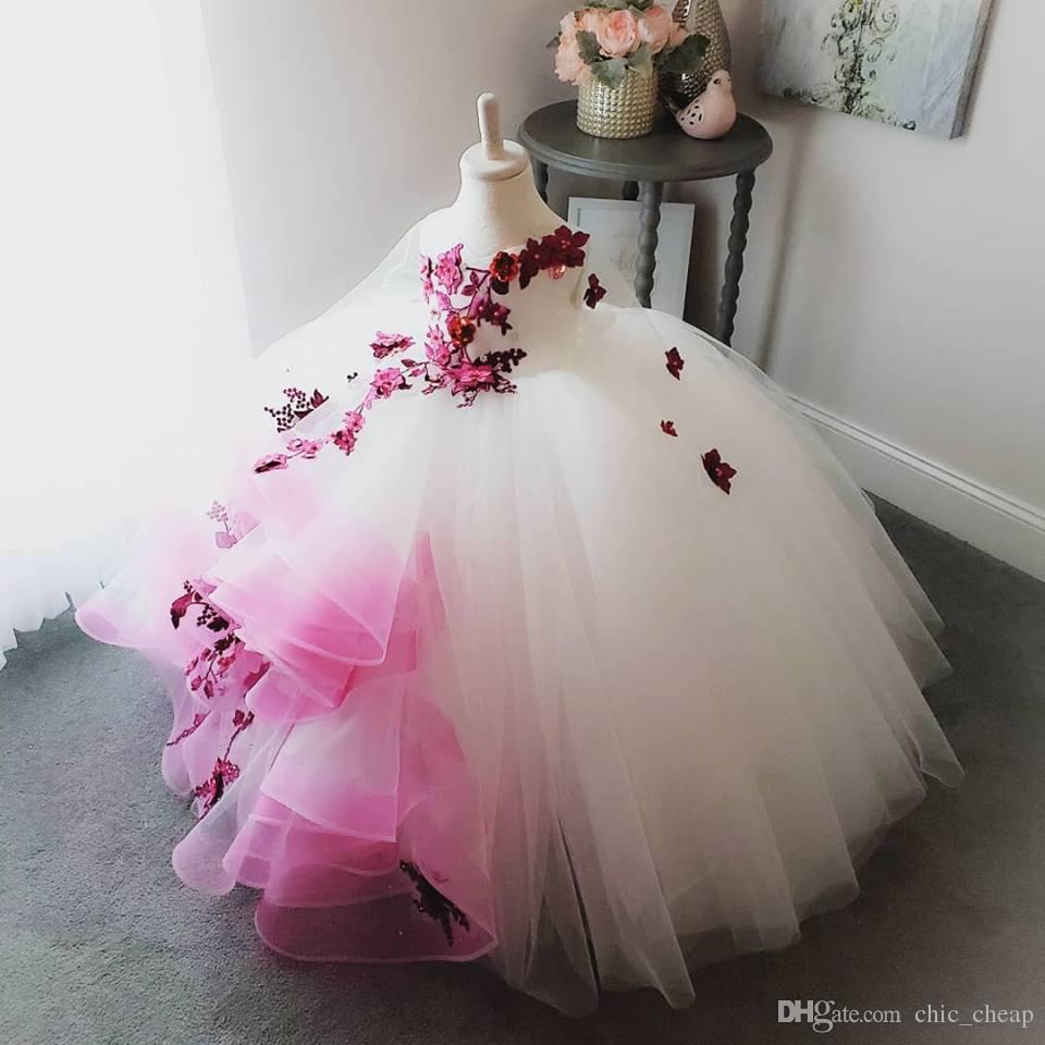 2018 потрясающие кружевные жемчужины цветы цветок девушка платья ручной работы цветы маленькая девочка свадебные платья винтажные пагентны платья платья f054