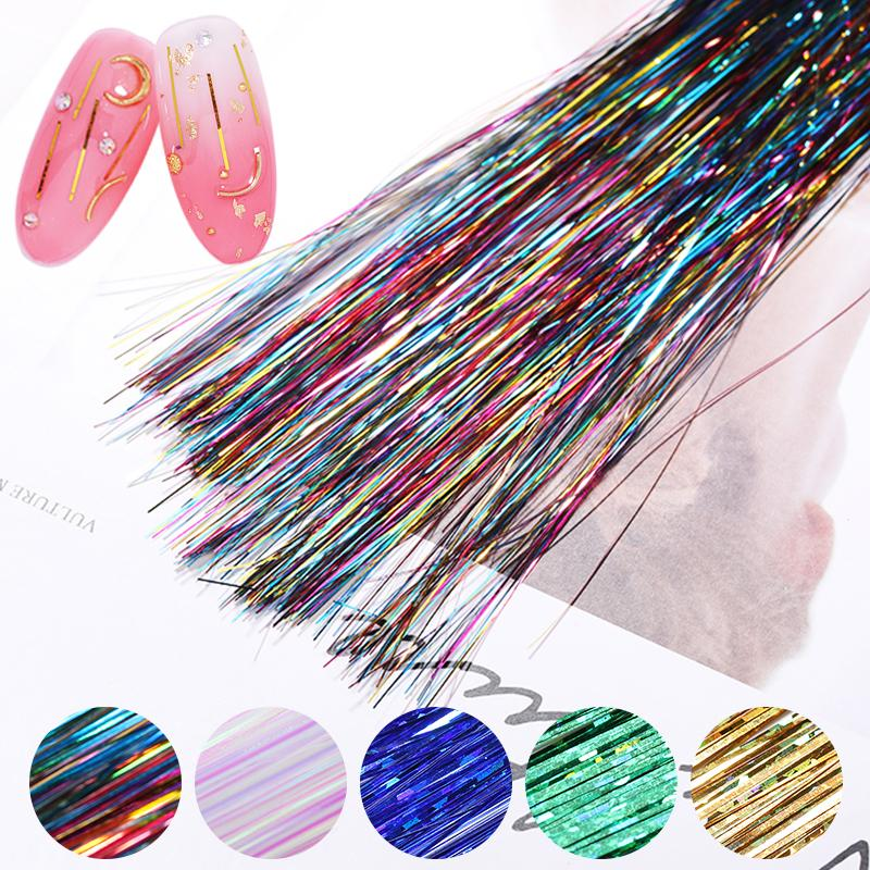 1 Bag Holographic Nail Gracile Wire Silk Thread Metal Colors Effects Colorful For UV Gel Polishing DIY Nail Art Decorations