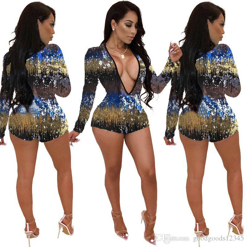 패션 여성 의류 여성 점프스 화려한 스팽글 여성 딥 브이 넥 bodysuit 긴 소매 스키니 짧은 Playsuit 우아한 파티 Rompers
