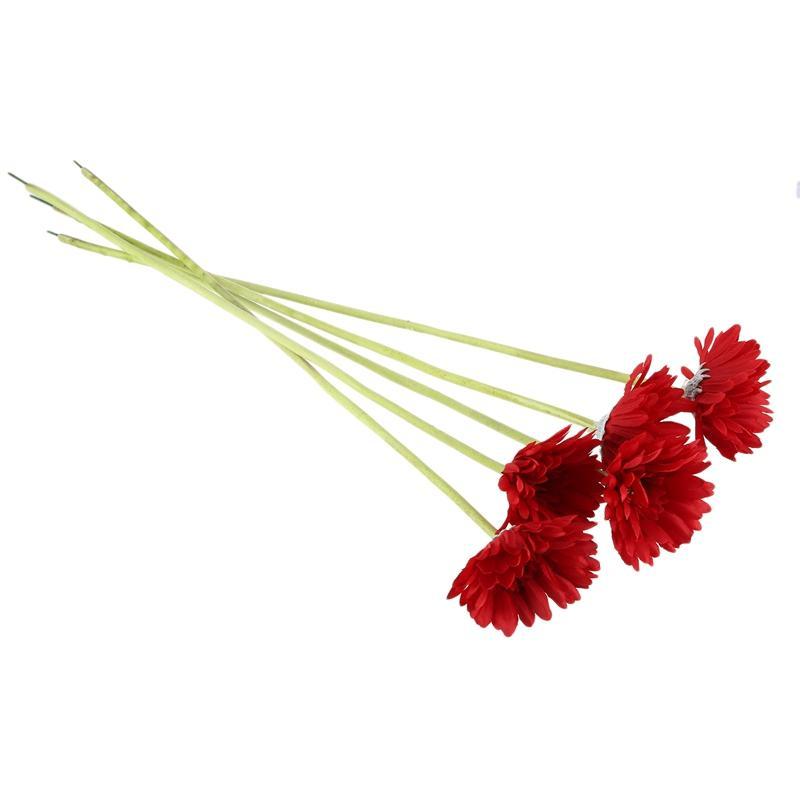 5 peças de flores artificiais Gerbera Gaensebluemchen Red