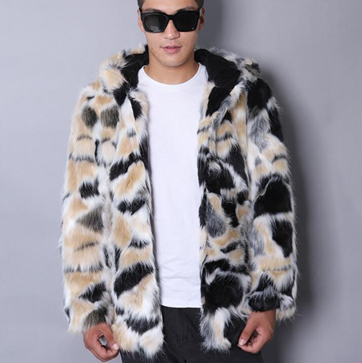 Sıcak gündelik sahte ceket erkek deri ceket erkek Coats villus kış gevşek termal kapüşonlu dış giyim moda 2017