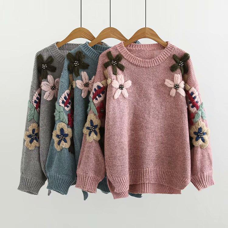 Primavera e autunno 2020 bicchierino anteriore e testa del manicotto allentato della lanterna filo posteriore lungo ricamo spessore tutto maglione sopra maglione