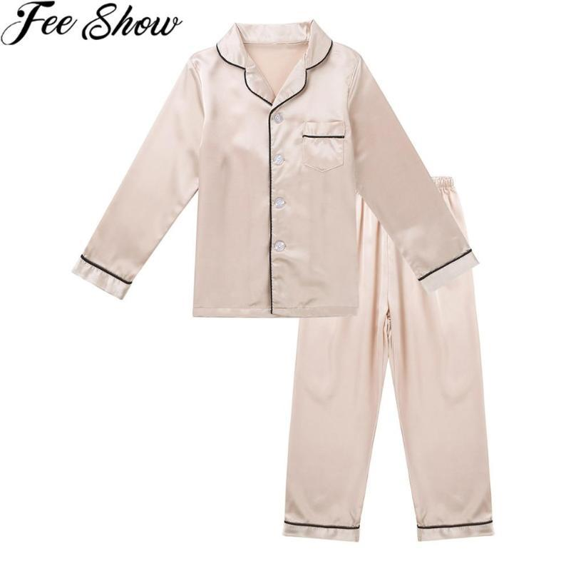 FEESHOW unisexe pour enfants Garçons Filles Pyjama deux pièces soie satin Pjs Pyjama Set boutonné à manches longues Hauts Pantalons Ensemble de nuit