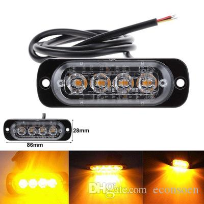 20pcs 12-24 Car Truck 4 LED Flash d'urgence Strobe Gyrophares Flashing Lights