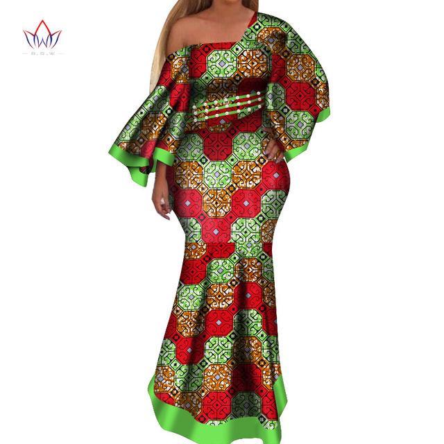2019 Новые африканские платья для женщин bazin riche style femme африканская одежда изящная леди принт воск плюс размер вечернее платье WY4044