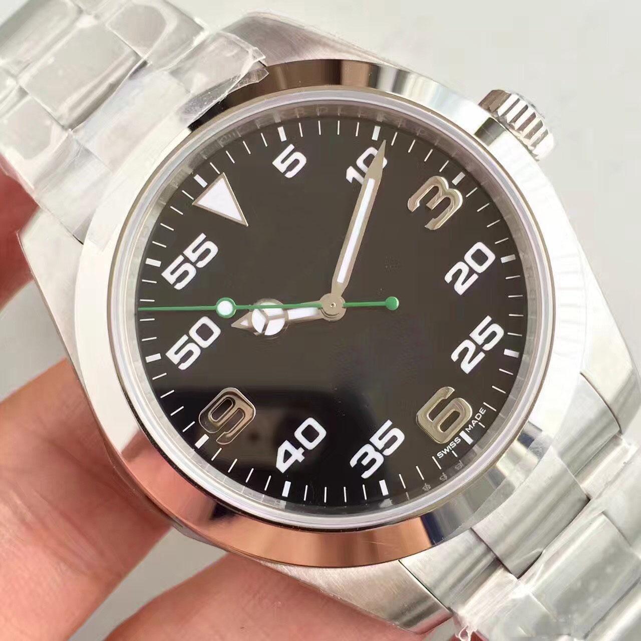 Noticias de la llegada mejores hombres clásicos de venta del Mens del reloj de la correa de acero AIR-KING 40MM negro grande de cristal de zafiro de línea automático movimiento reloj 316