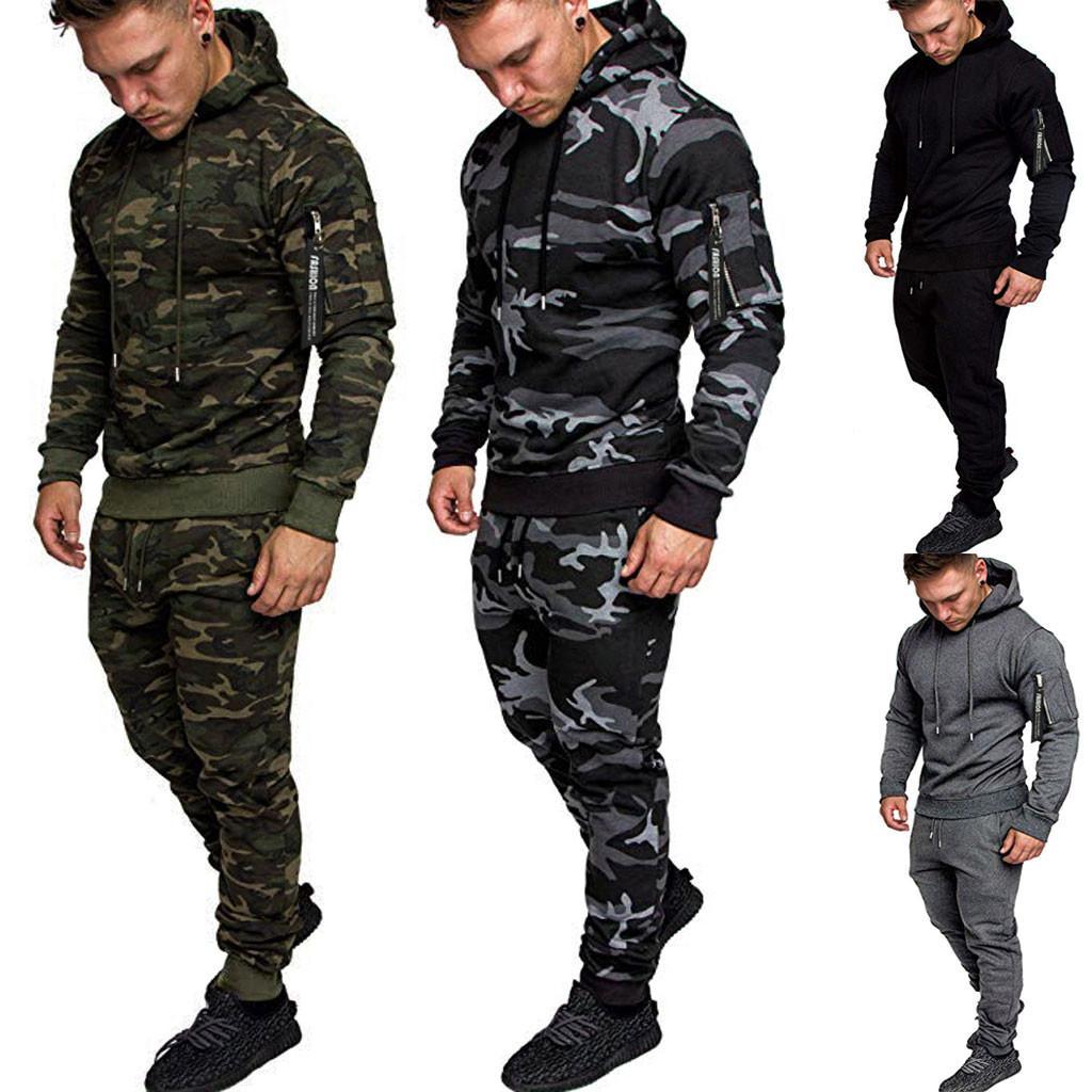 Homens Treino Outono emenda Zipper Imprimir camisola Calças Sets Suit Sport Treino com 4 cores Asiático Tamanho M-2XL