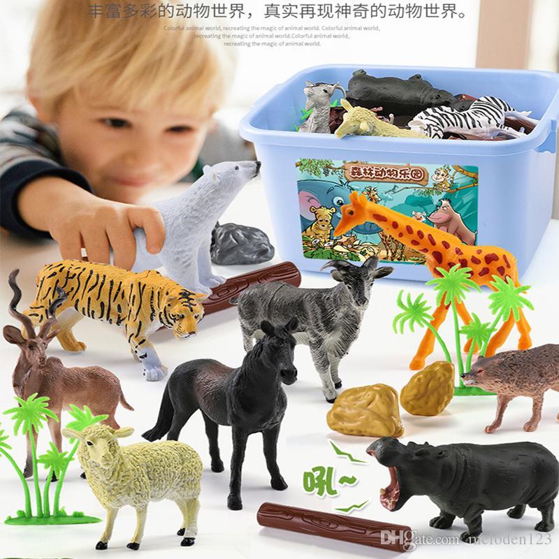 어린이 야생 동물 교육인지 공원 공룡 장난감 세트 시뮬레이션 동물 모델 팬더 호랑이 사자 보이 스토리지 박스