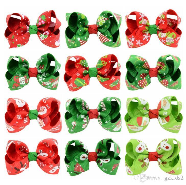 INT Nouveau style de Noël Enfants épingle à cheveux arc imprimé Européen et Américain Bébé Épingle à cheveux décoratif LIVRAISON GRATUITE
